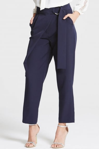 Girls on Film Navy Tailored Trousers With Belt