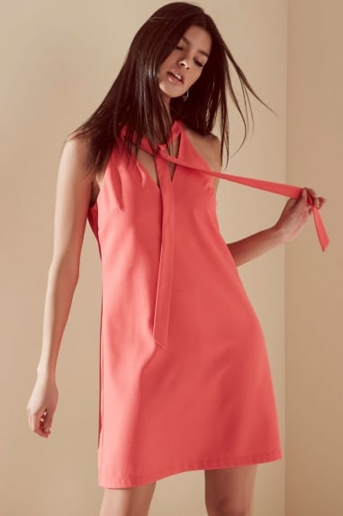 Coral Bow Front Tunic Dress