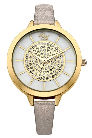 Ladies Nude Strap Watch With White/Gold Dial