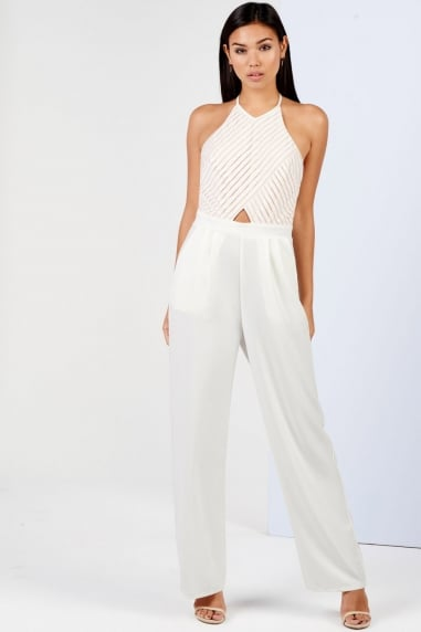 Girls on Film Cream Backless Jumpsuit