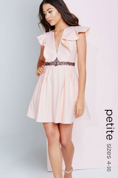 Nude Plunge Ruffle Mini Dress