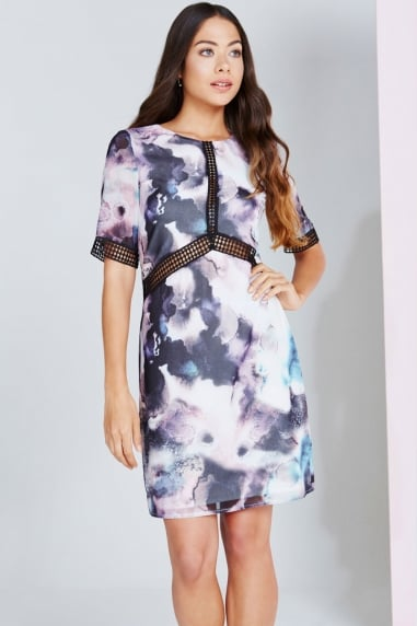 Oil Print Lace Trim Shift Dress