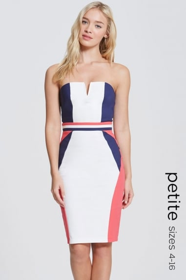 Navy, Cream and Coral Colour Block Dress