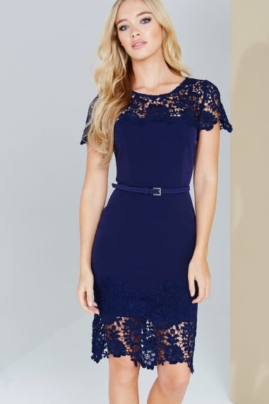Navy Lace Panel Bodycon Dress