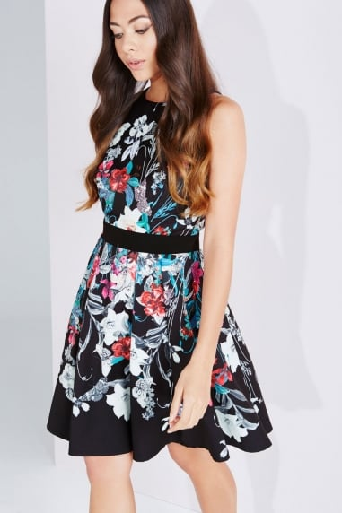 Bouquet Print Fit And Flare Dress