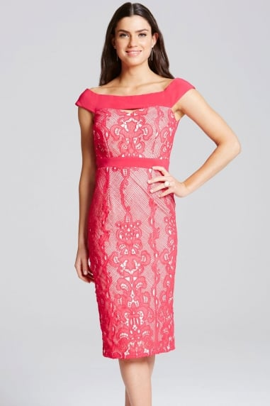 Cherry Lace Overlay Bardot Dress