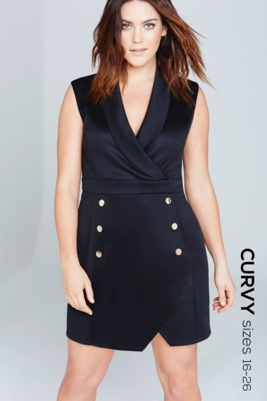 Black Tuxedo Bodycon Dress
