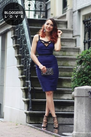 Navy and Black Panel Strap Dress