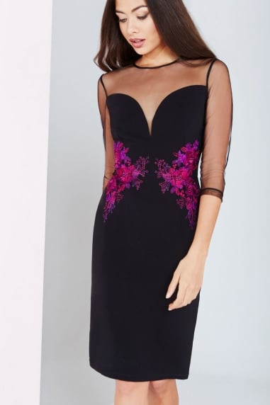 Black And Berry Embroidered Waist Bodycon Dress
