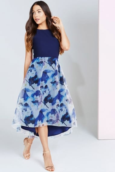 Bloom Print Dip Hem Midi Dress