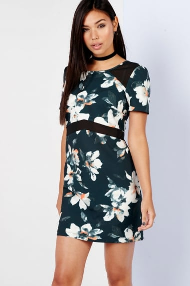 Floral Print Mesh Panel Shift Dress
