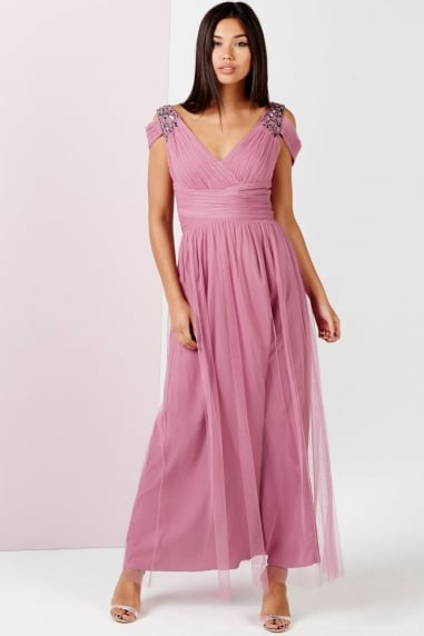 Rose Embellished Drape Shoulder Maxi Dress
