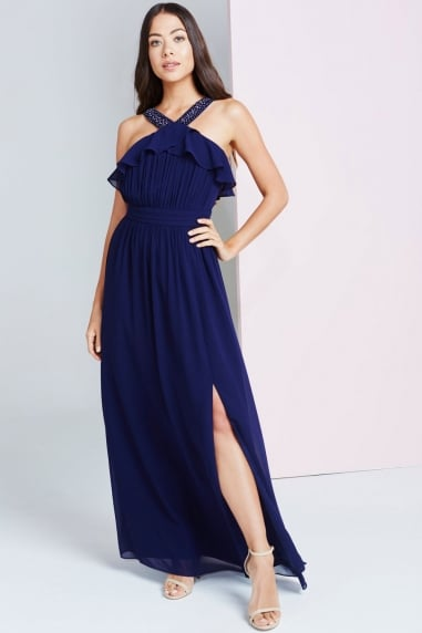 Navy Embellished Maxi Dress With Ruffle