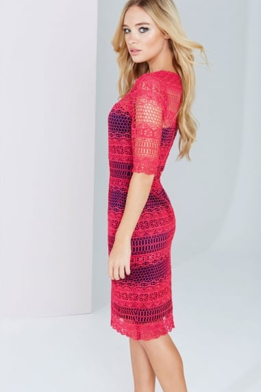 Pink And Navy Crochet Panel Lace Dress