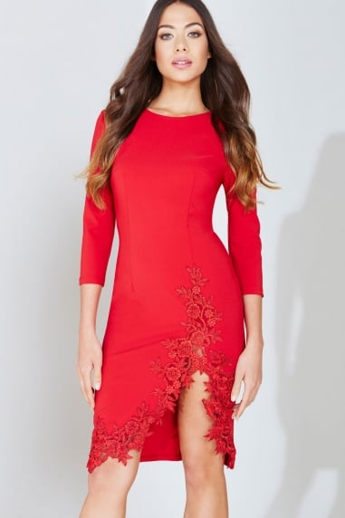 Red Crochet Trim Bodycon Dress