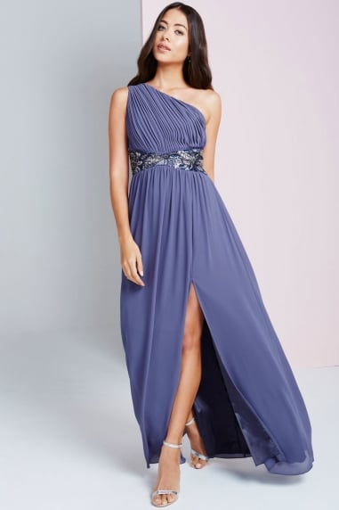 Lavender Grey One Shoulder Maxi Dress