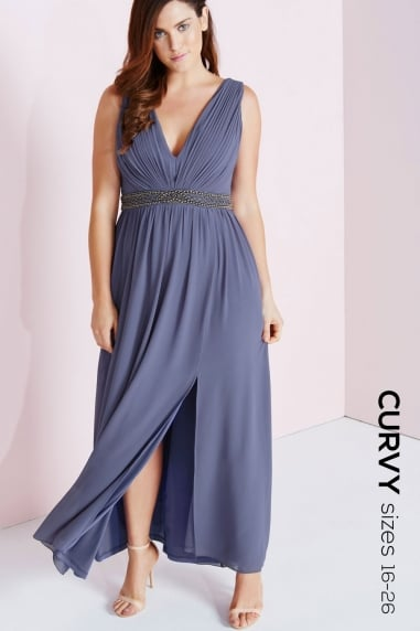 Lavender Grey Maxi Dress With Embellished Waist