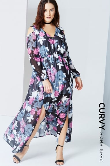 4715f89d3d8 Floral Print Cold Shoulder Maxi Dress. Outlet Girls On Film ...