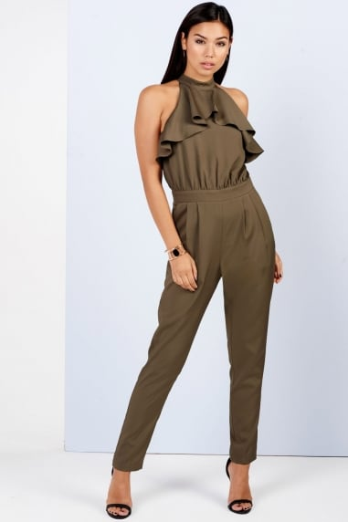 Girls on Film Khaki Ruffle Tailored Jumpsuit