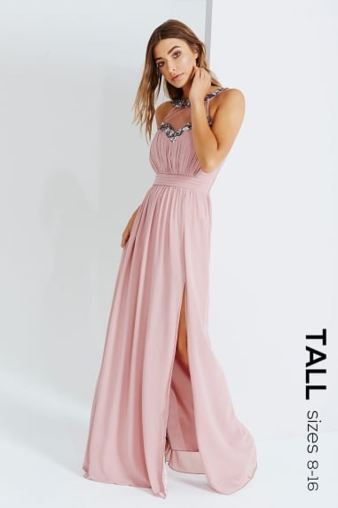 Rose Embellished Trim Maxi Dress
