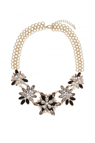 Multi Statement Flower Gem Necklace