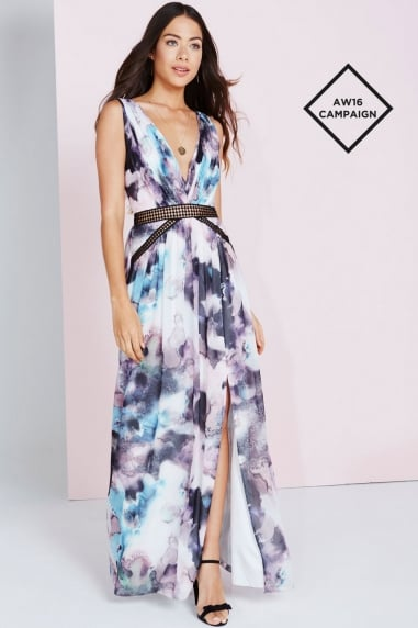 Oil Print Chiffon Maxi Dress