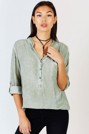 Khaki Oversized Collarless Shirt