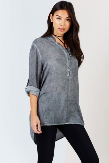 Grey Oversized Collarless Shirt