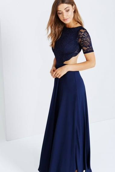 Navy Lace Exposed Back Maxi Dress