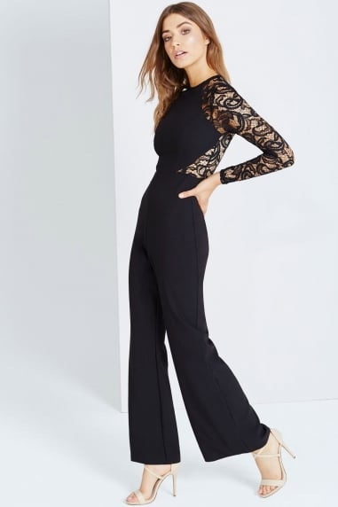 Black Wide Leg Jumpsuit With Lace