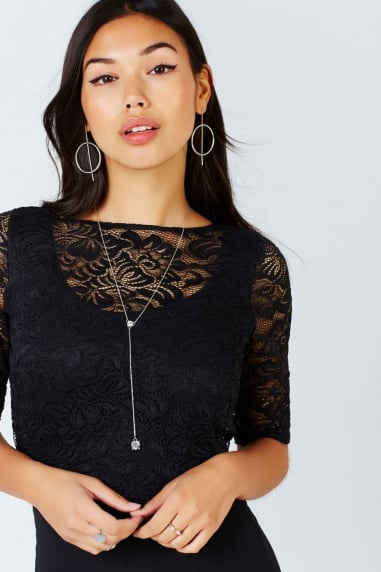 Black Lace Culotte Jumpsuit