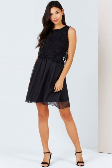 Girls on Film Black Crochet Lace Overlay Dress