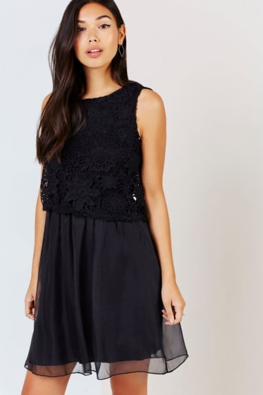 Black Crochet Lace Overlay Dress