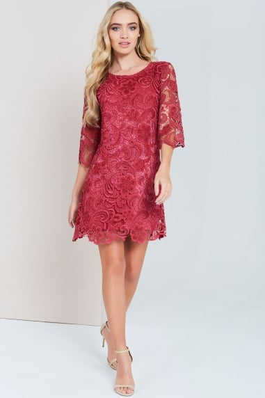 Burgundy Crochet Lace Bodycon Dress