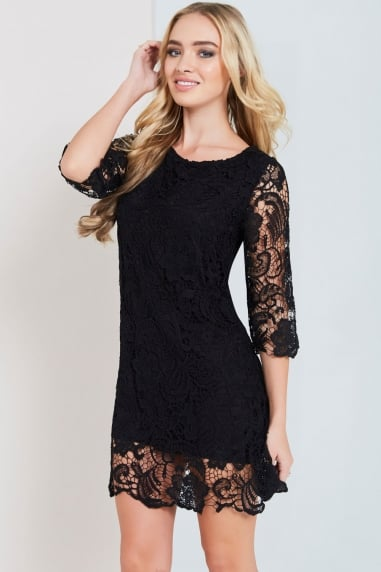 Paper Dolls Black Crochet Lace Bodycon Dress
