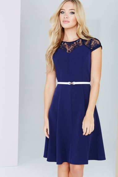 Navy Lace Detail Fluted Swing Dress