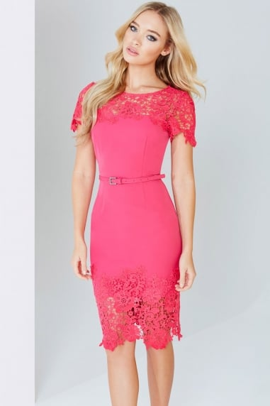 Magenta Lace Panel Bodycon Dress