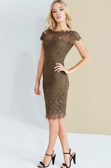 Paper Dolls Khaki Crochet Lace Dress With V-Neck Detail