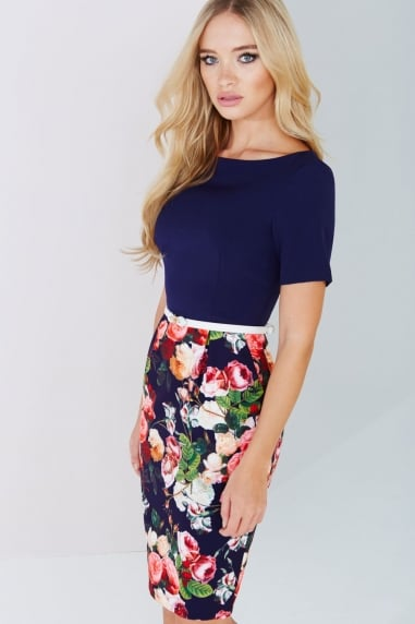 Navy Floral-Print Belted Dress