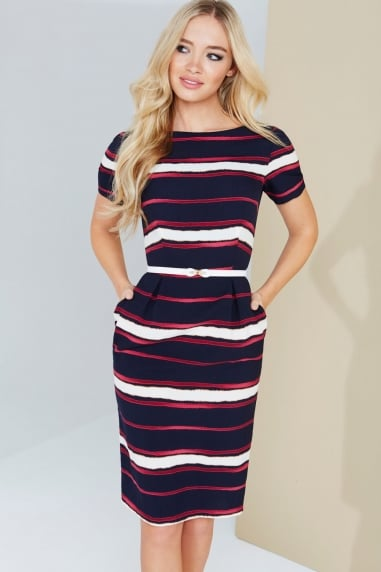 Paper Dolls Multi Stripe Print Dress With Cream Belt