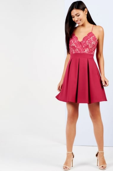 Raspberry Lace Top Skater Dress