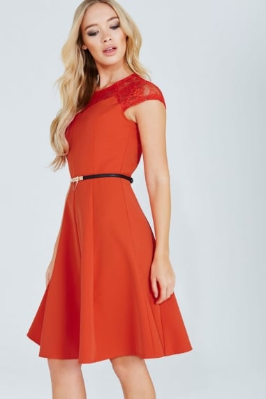 Tomato Red Lace Detail Fluted Swing Dress