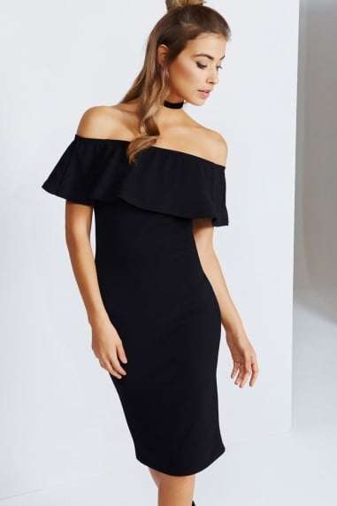 Black Midi Dress With Ruffle