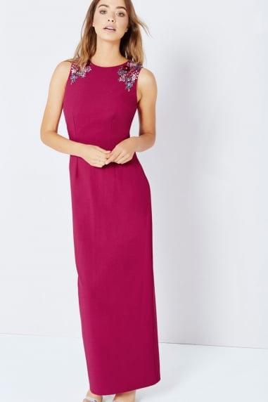 Raspberry Jewel Shoulder Maxi Dress