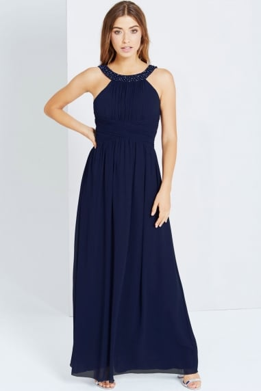 Navy Embellished Empire Maxi dress