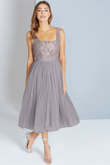 Grey Lace and Mesh Midi Dress