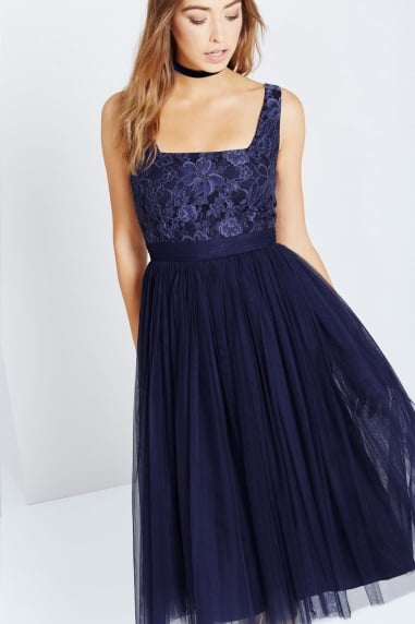 Navy Lace and Mesh Midi Dress