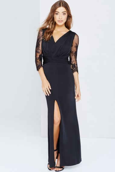 Black Lace Split Hem Maxi Dress
