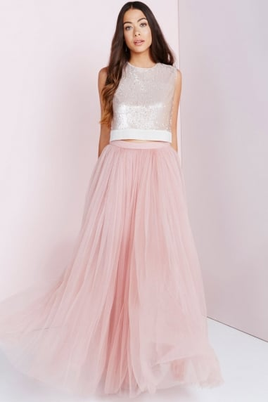 Rose Tulle Maxi Skirt