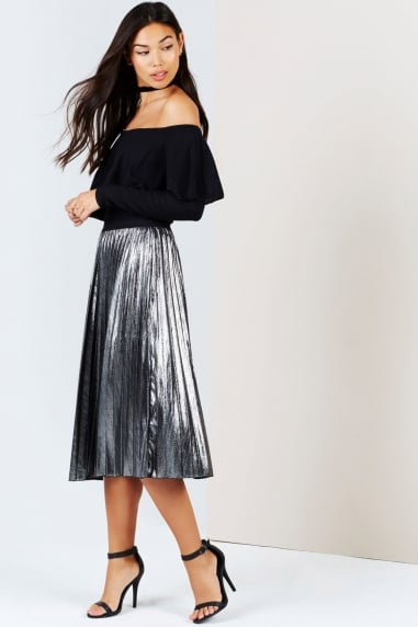 Silver Midi Pleat Skirt